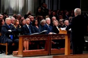 4 Presiden AS Bertemu di Upacara Pemakaman Bush