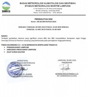 BMKG Mengeluarkan Peringatan Potensi Gelombang Tinggi di Perairan Laut Lampung