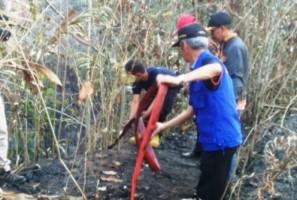 Bupati dan Ketua DPRD Ikut Padamkan Kebakaran di Pringsewu