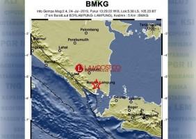 Gempa Bumi 2,4 SR Guncang Bandar Lampung