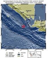 Gempa di Pesisir Barat dan Pesawaran Terjadi Dini Hari