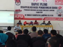 Hasil Pleno Rekapitulasi Suara Pilgub di Lamsel, Arinal-Nunik Unggul