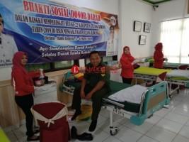 HUT Tuba, 20 Anggota Koramil Menggala Donor Darah