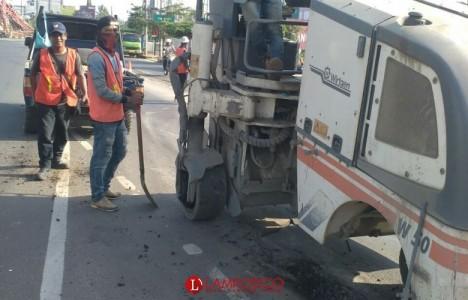 Jalan Rusak di Ruas Jalan Lampura-Lamteng Mulai Diperbaiki