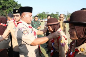 Kwartir Cabang Gerakan Pramuka Lampung Selatan Menggelar Upacara Gelar Senja