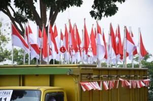 Lamtim Raih Rekor Muri  Mengibarkan 1001 Bendara Merah Putih