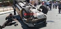 Mobil Patroli Polres Lambar Alami Kecelakaan hingga Terbalik
