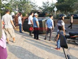Mobil Tahanan Kejari Kotabumi Terbalik, 13 Tahanan Terluka