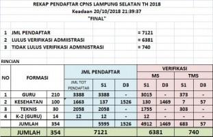 Pelamar CPNS Lamsel Yang Lulus Verifikasi Administrasi Capai 6.381 Orang