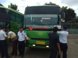 Pemeriksaan Bus di Terminal Rajabasa, Baru 8 Bus Dinyatakan Laik Operasi