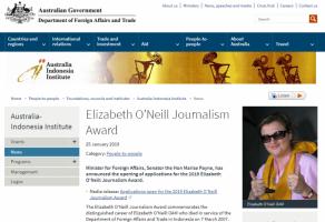 Penghargaan Jurnalisme Elizabeth O'Neil 2019 Dibuka