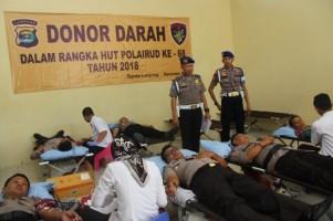 Peringati HUT Ke-68 Ditpolair Polda Lampung Gelar Aksi Donor Darah Bersama TNI