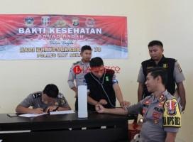 Peringati HUT Ke-73 Bhayangkara, Polres Way Kanan Kumpulkan 100 Kantong Darah