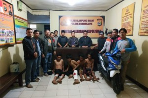Polisi Bekuk 4 Begal Asal Lampura Usai Beraksi di Rest Area Sumberjaya