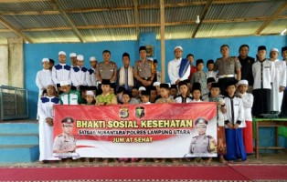 Polres Lampung Utara Gelar Bakti Kesehatan dan Sosialisasi Lalu Lintas