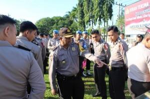 Polres Way Kanan Cek Kesiapan Personel Pengamanan Pemilu