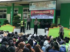 Polres Way Kanan SosialisasikanPenerimaan Polri di Sekolah