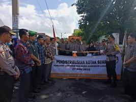 Polresta Kawal Pendistribusian Logistik di Bandar Lampung