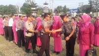 Puluhan Personel Polres Lampung Utara Ikuti Upacara Kenaikan Pangkat