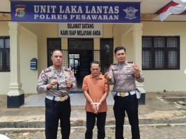 Satlantas Polres Pesawaran Amankan Oknum Pol PP Kota Metro Bawa Senpi