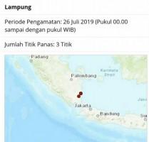 Tiga Titik Panas Terpantau di Lampung