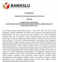 Tim Seleksi Panwaslu Masa Jabatan 2018-2023 Terbentuk