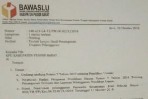 Tindaklanjuti ASN Tak Netral, Bawaslu Pesisir Barat Layangkan Surat ke KPU