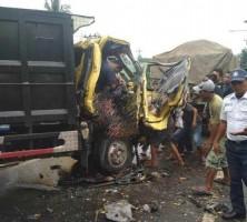 Truk Lawan Dump Trudk di Jalinsum Sidomulyo, Satu Tewas