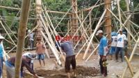 Warga Desa Kemalo Abung Gotong Royong Bangun Masjid