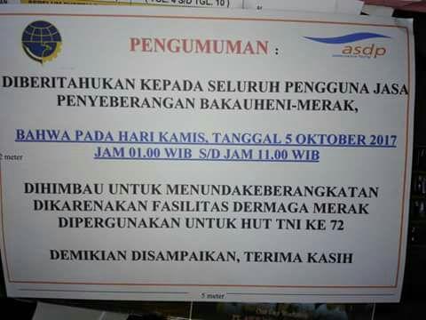 LAMPUNG POST | HUT TNI, Empat Dermaga di Pelabuhan Bakuheni-Merak Tutup 10 Jam