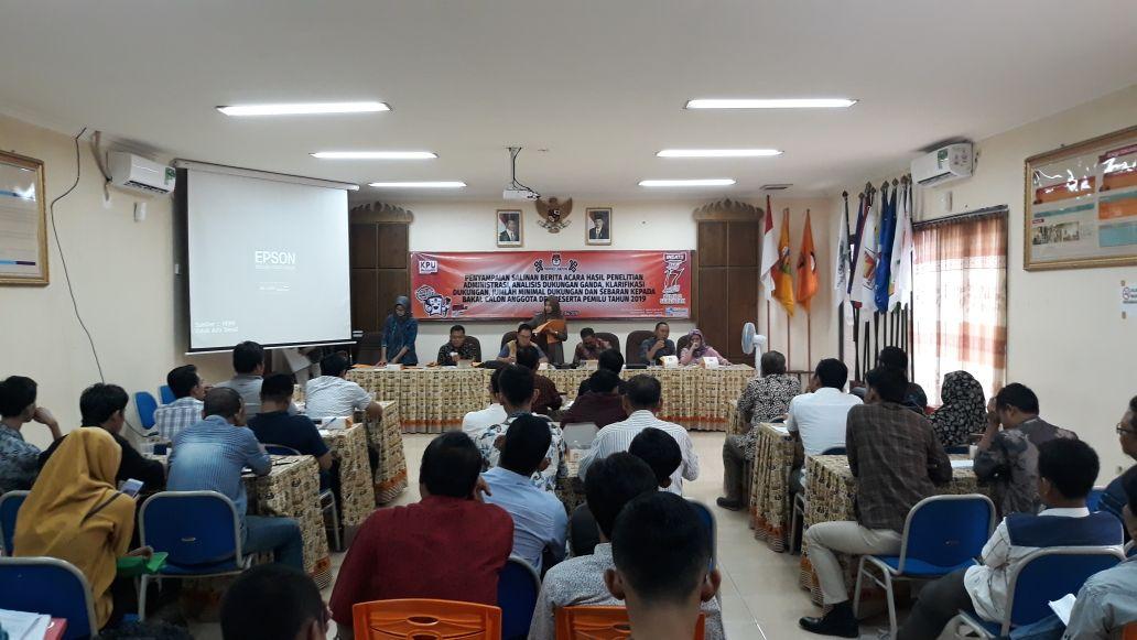 KPU Sampaikan Hasil Penelitian Administrasi Bakal Calon DPD RI