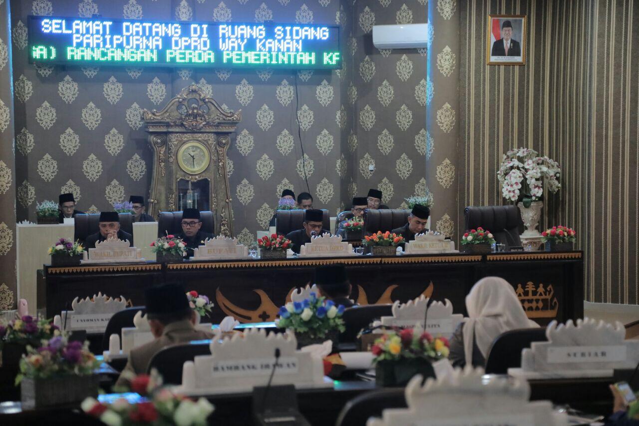 DPRD Way Kanan Bahas Penyampaian Tiga Raperda dalam Paripurna
