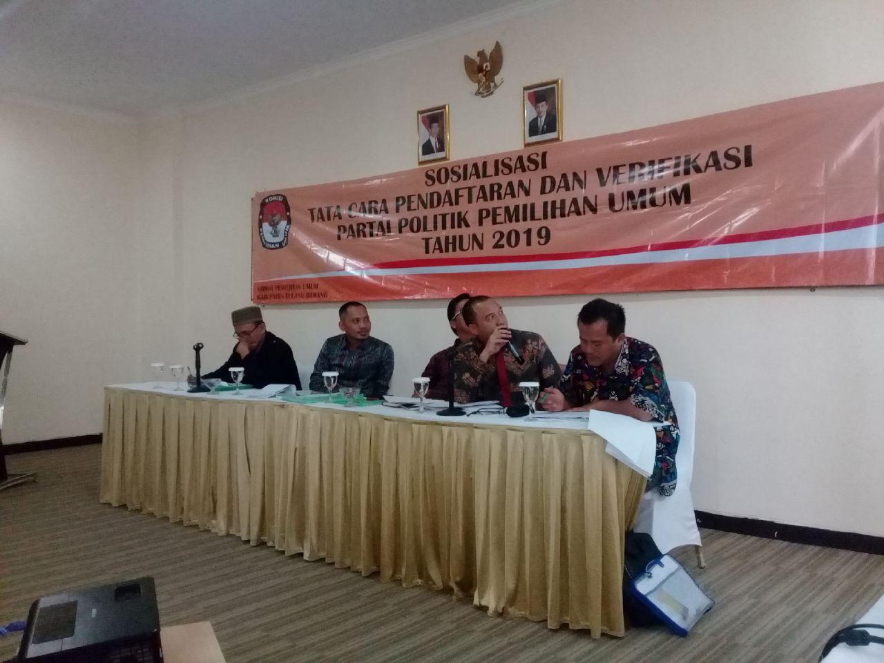 LAMPUNG POST | KPU Tulangbawang Sosialisasi Verifikasi Parpol Peserta Pemilu 2019