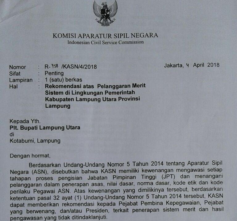 Surat KASN Rekomendasikan Pembatalan Mutasi ASN di Lampung Utara Beredar