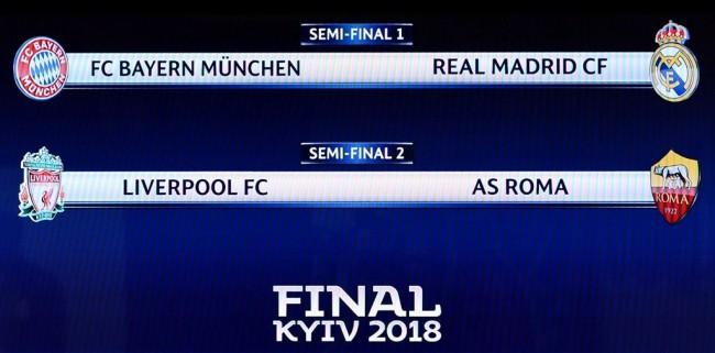 Jadwal Semifinal Liga Champions 2017--2018