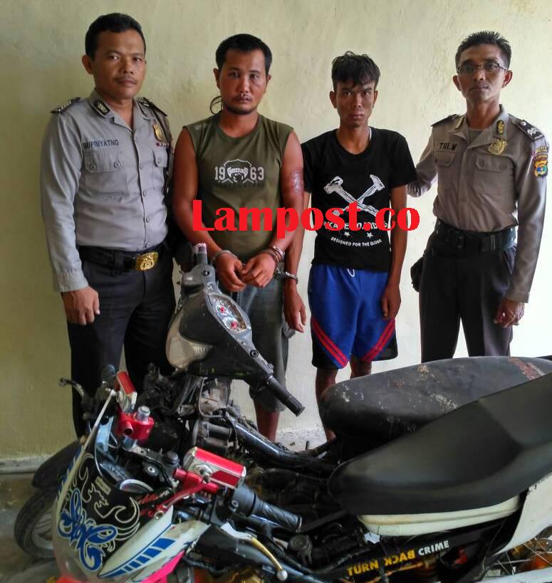LAMPUNG POST   Curi Motor yang Terparkir, Dua Pelaku Digelandang Polisi