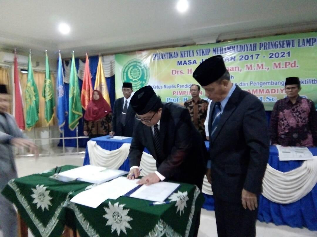 LAMPUNG POST | A. Rahman  Jabat Ketua STKIP Muhammadiyah Pringsewu Periode Kedua