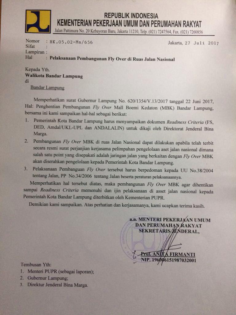 LAMPUNG POST | Tanggapi Tudingan Palsu, Sekjen PUPR Tegaskan Surat Penghentian Flyover MBK Asli