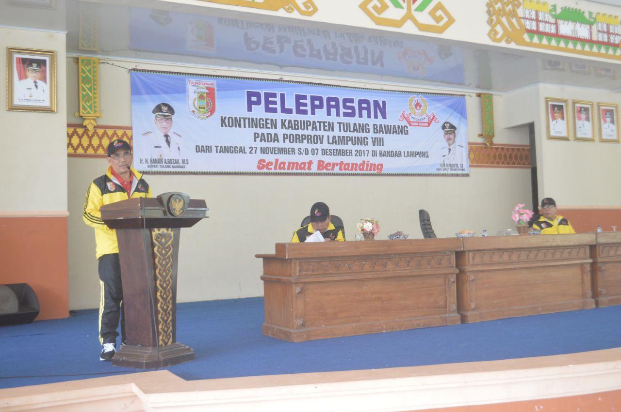 LAMPUNG POST | Sekkab Tulangbawang Lepas 356 Kontingen ke Porprov