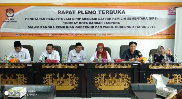 Daftar Pemilih Sementara Kota Bandar Lampung 619.150 Orang