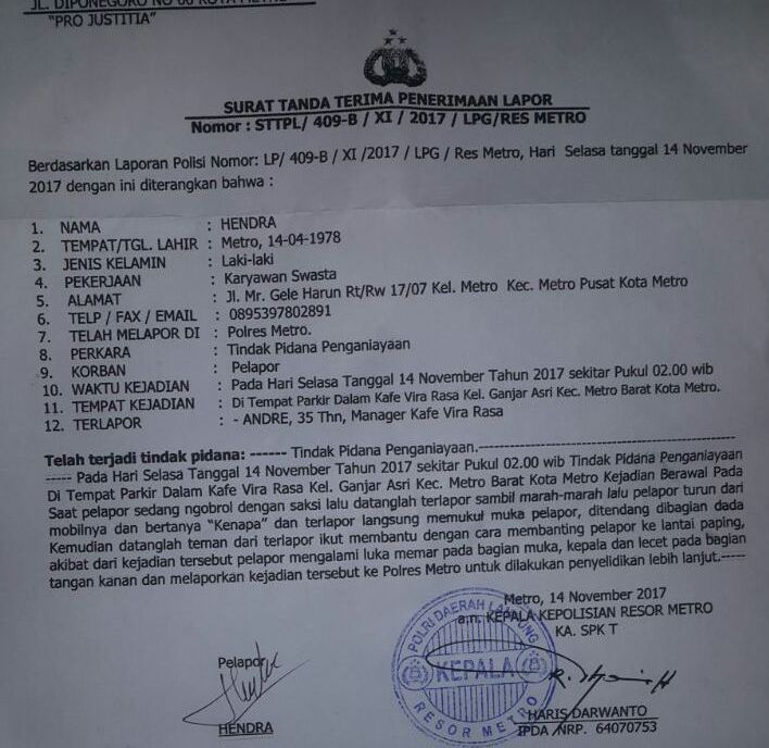 Aniaya Tamu Hiburan Malam, Pemilik Kafe Dilaporkan ke Polisi