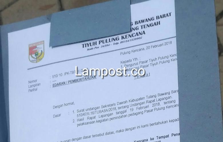 Pemerintah Tiyuh Keluarkan Surat EdaranRelokasi Pasar Pulungkencana