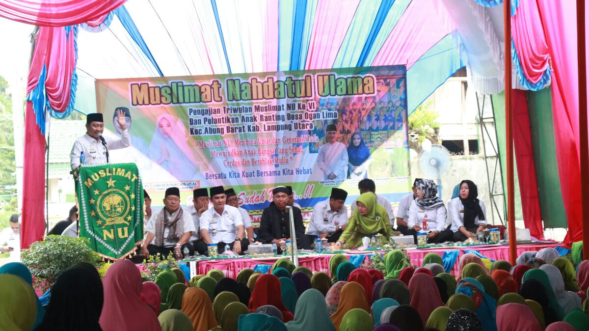 LAMPUNG POST | Agung Ilmu Hadiri Pengajian Muslimat NU di Abung Barat