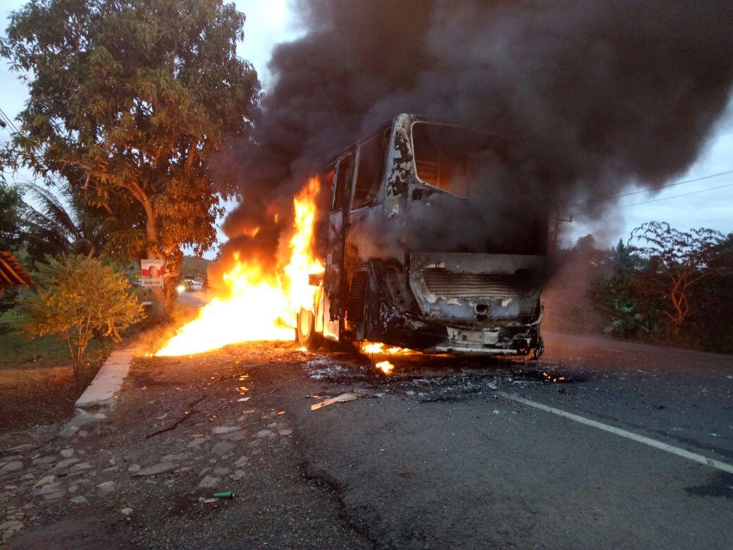 Bus DAMRI Terbakar di Jalinsum, Sidomulyo