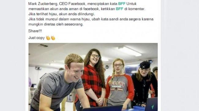 Sempat Viral, Ternyata Komentar BFF di Facebook Cuma Hoaks