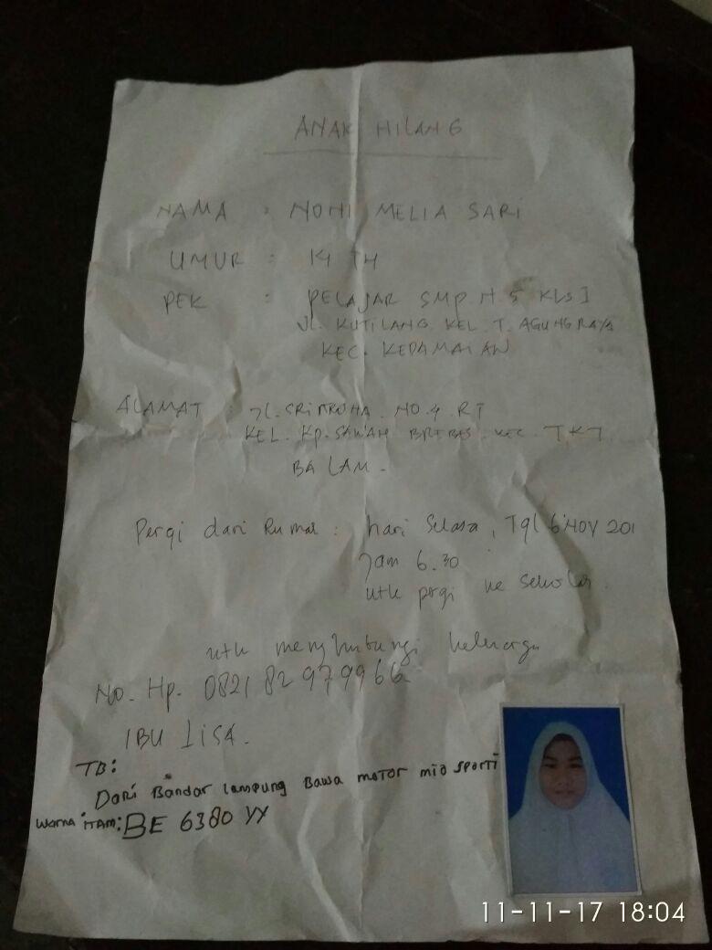 LAMPUNG POST | Siswi SMPN 5 Hilang, Diduga Diculik