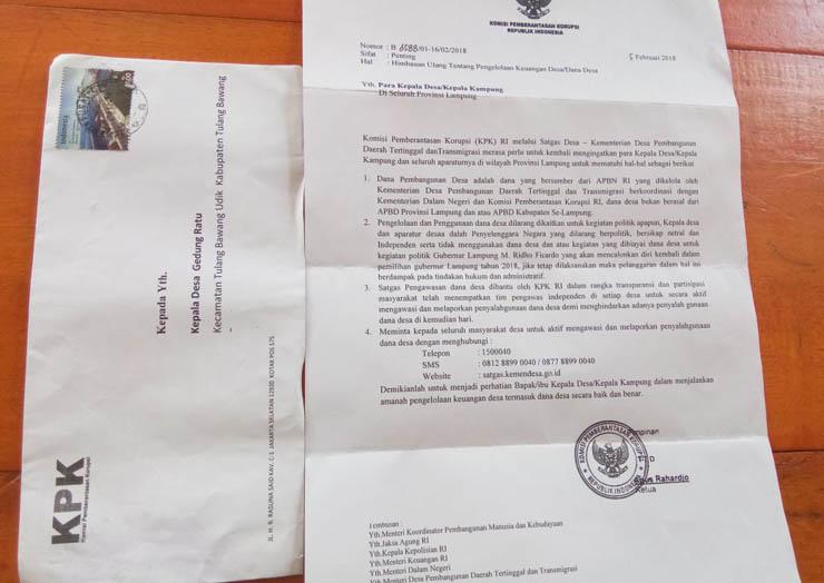 Surat Berlogo KPK Beredar di Tubaba