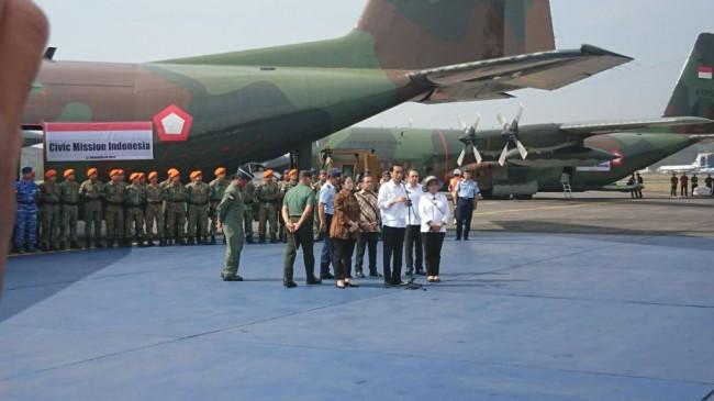 LAMPUNG POST | Jokowi Lepas 4 Hercules Muatan Bantuan Pengungsi Rohingya