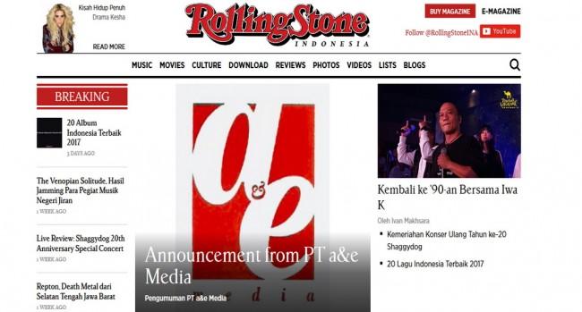 Majalah Rolling Stone Indonesia Berhenti Terbit