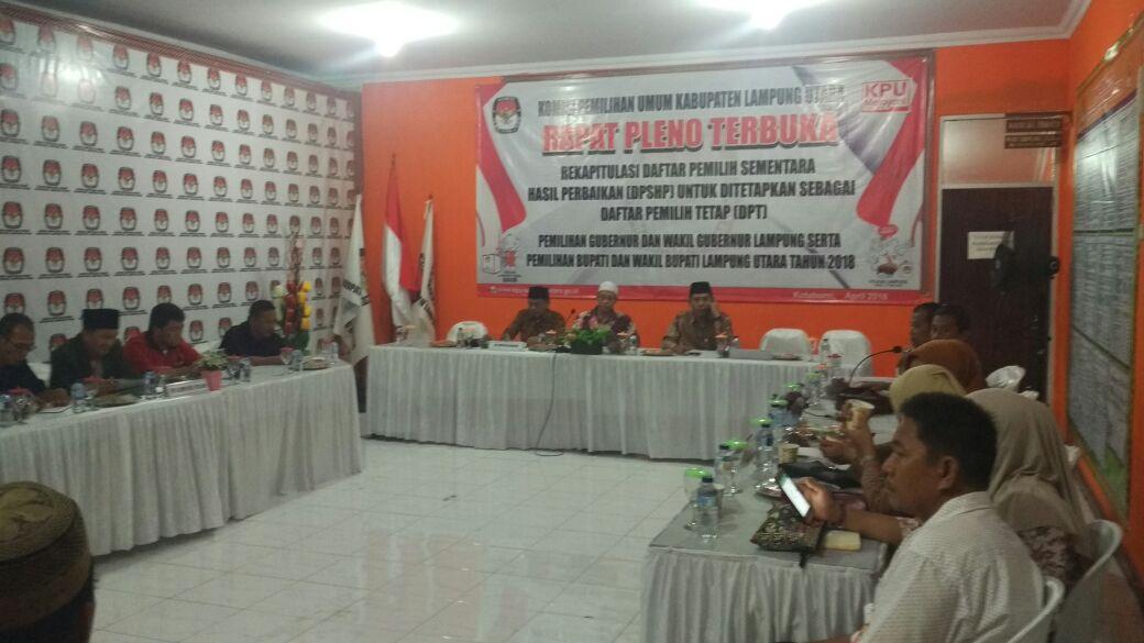 LAMPUNG POST | Rapat Pleno Terbuka KPU Lampung Utara Tetapkan DPT
